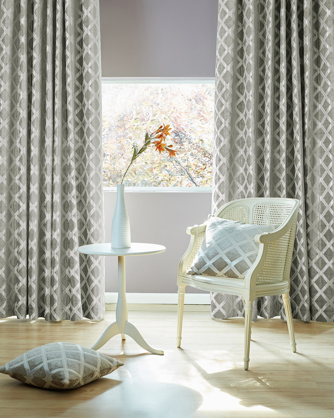 Diamante Oyster Ready Made Curtains