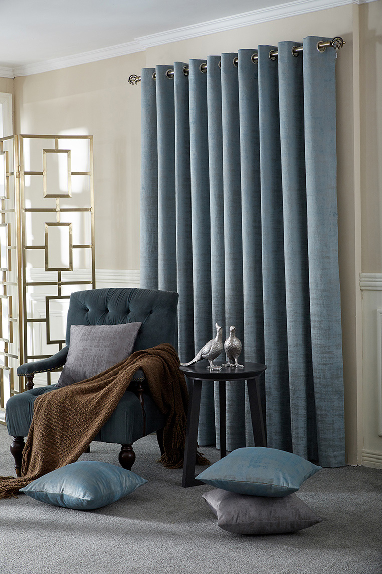 Marble Azure Ready Made Curtains