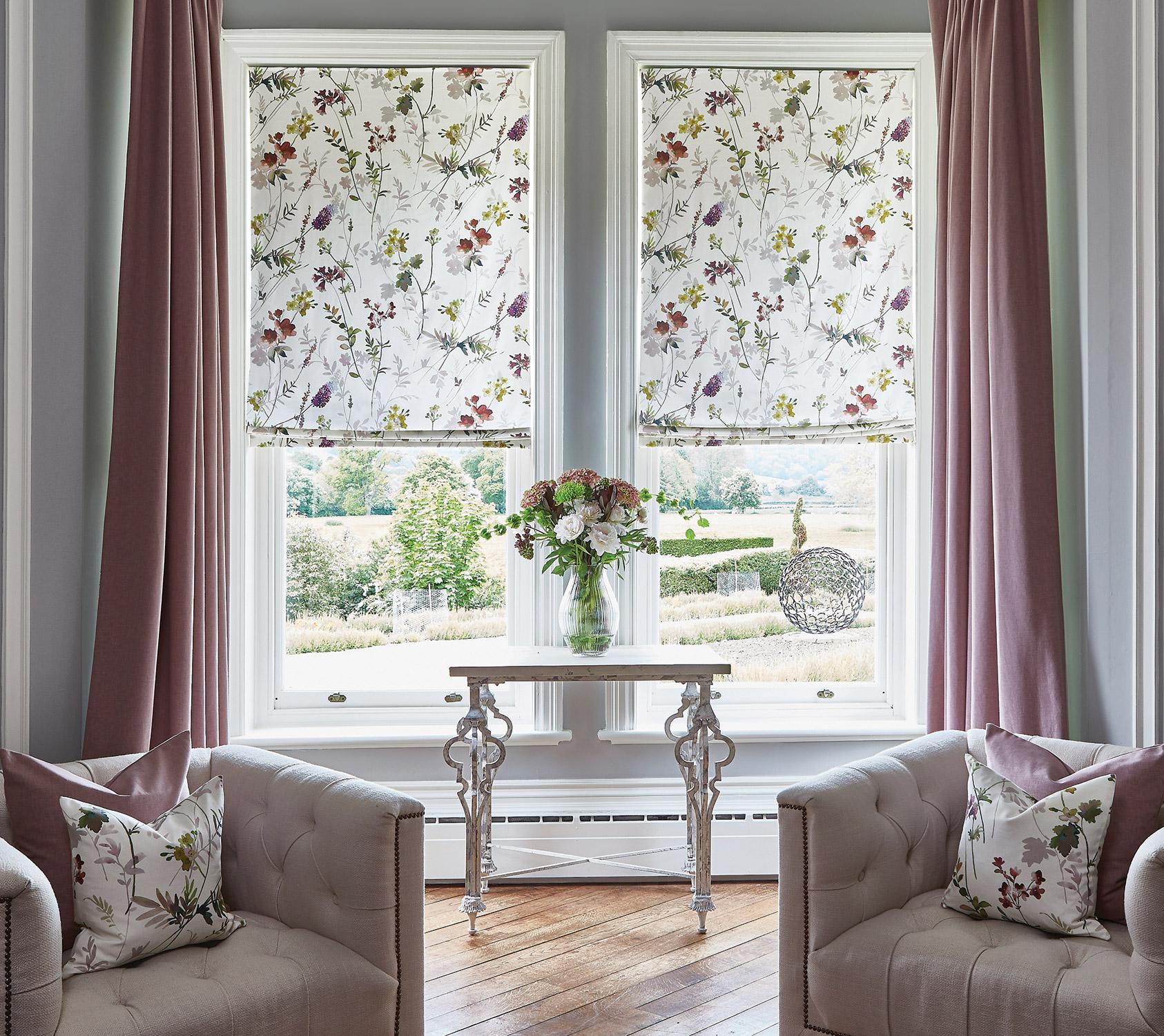Tuileries Rose Quartz Roman Blinds Oslo Thistle Curtains